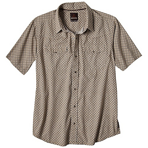 Free Shipping. Prana Men's Colton SS Woven Top DECENT FEATURES of the Prana Men's Colton Short Sleeve Woven Top Lightweight plain weave fabrication All over print Tiger eye snap closure Standard Fit The SPECS 100 Organic Cotton - $64.95