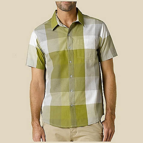 Free Shipping. Prana Men's Brighton SS Woven Top DECENT FEATURES of the Prana Men's Brighton Short Sleeve Woven Top Lightweight plain weave fabrication Medium size plaid pattern Pearlized button closure 4 oz Standard Fit The SPECS 100 Organic Cotton - $64.95