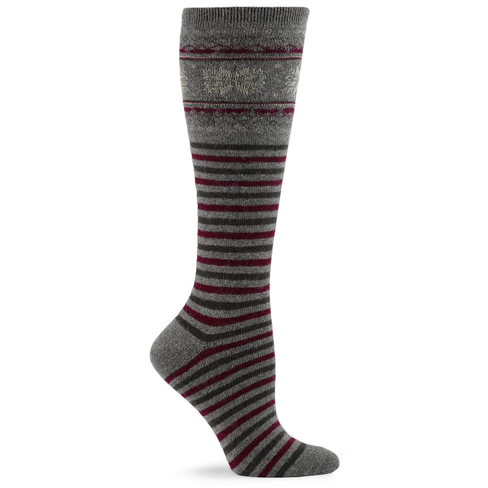 Eddie Bauer Fair Isle Boot Socks - Our versatile boot-length socks are made of a soft rayon and wool blend and combine a traditional Fair Isle pattern with multicolored stripes. Imported. - $12.95