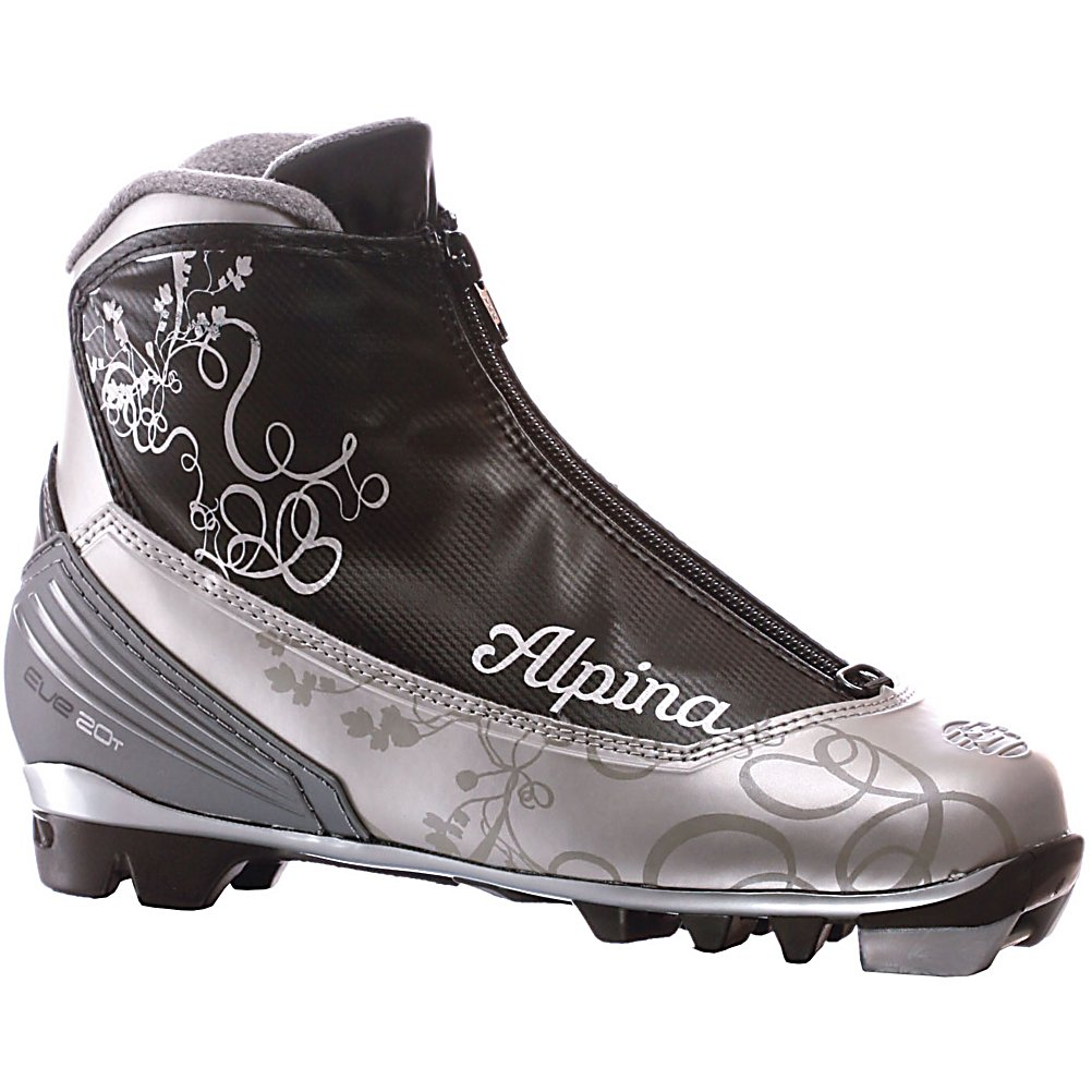Ski Alpina Eve 20T Womens NNN Cross Country Ski Boots - For those powder day treks the Eve 20T features Thinsulate padding up and around the ankle, and a zippered tongue cover, to keep out the snow. Also, there is a hook to secure snow gators. The Eve 20T is no exception of quality in the Alpina line-up. The protection and comfort are superior than any other cross country boot on the market. Features: Internal speed lacing, Thinsulate insulation. Model Year: 2010, Product ID: 168995 - $69.95