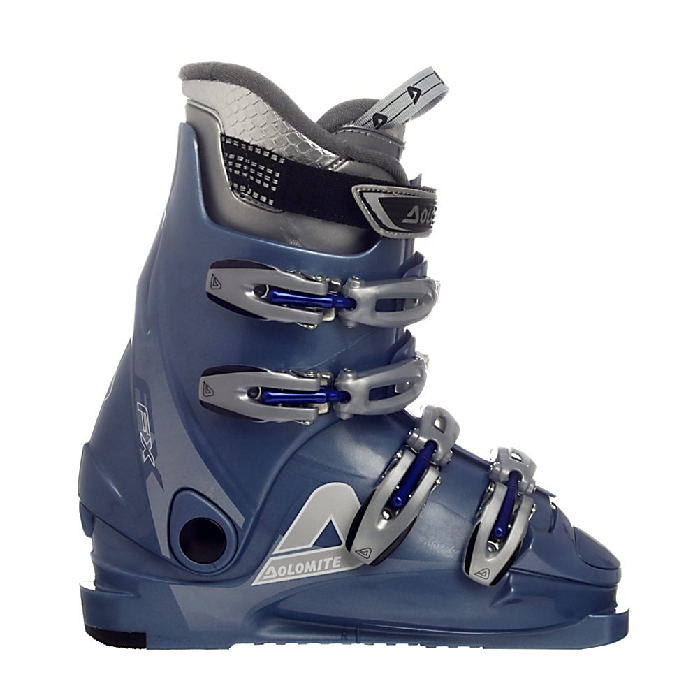 Ski Dolomite FX Lady Womens Ski Boots - Dolomite FX Lady Womens Ski Boots: The Dolomite FX Lady Women's Ski Boots have a full arsenal of features to keep you happy. One of which is the super comfortable liner that fits like a glove and is easy to get in and out of. A perfect fit for the beginner skier who needs a boot that is very comfortable yet soft and forgiving enough to ensure a comfortable smooth ride. The 4 adjustable buckles allow for a custom fit because no ones foot is exactly the same. The reinforced nylon is a strong material that will take a beating and keep on working. Over and above all the Dolomite FX Women's Ski boot is a great product. . Lining Material: Padded Liner That Conforms to Your Foot, Actual Flex: 95, Cuff Alignment: None, Warranty: One Year, Gender: Womens, Special Features: Lightweight Design, Type of Boot: Performance, Width: Narrow (95-99mm), Shell Material: Reinforced Nylon, Buckle Count/Type/Material: 4/Micro Adjustable/Aluminum, Special Features: Power Strap, Flex: Stiff, Race: No, Used: No, Ski/Walk: No, Prewired For Heat: No, Number of Micro Buckles: None, Freestyle: No, Sidecountry: No, Forefoot Width: 99mm, Flex Adjustment: No, Buckle Count: 4, Buckle Material: Aluminum, Category: Downhill, Skill Range: Beginner - Advanced Intermediate, Model Year: 2008, Product ID: 185324 - $69.97
