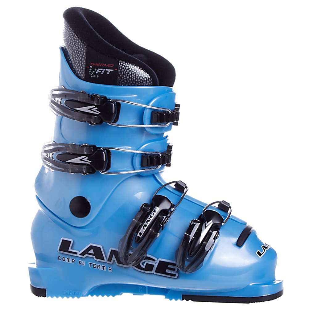 Ski Lange Comp 60 Team Kids Ski Boots - Being a little champion means daring to push yourself beyond your own safety limits, going beyond the known and the visible, relying on the sensations of your own body. The Lange Comp 60 Ski Boots are the ideal ski boots for kids moving forward with confidence into the ski world. The Lange Team line was designed to help them. The Custom Pro Concept liner wraps little feet in warmth and comfort. . Skill Range: Advanced Intermediate - Advanced, Model Year: 2008, Product ID: 146465, Shipping Restriction: This item is not available for shipment outside of the United States., Category: Downhill, Buckle Material: Plastic, Buckle Count: 4, Sidecountry: No, Freestyle: No, Race: No, Special Features: Performance Sole, Features: Performance Sole, Buckle Count/Type/Material: 4/ Macro Metal/Plastic buckles, Shell Material: Junior shell, Type of Boot: Recreational, Gender: Kids, Warranty: One Year, Cuff Alignment: None, Actual Flex: 60, Lining Material: Custom Pro Concept - $89.95