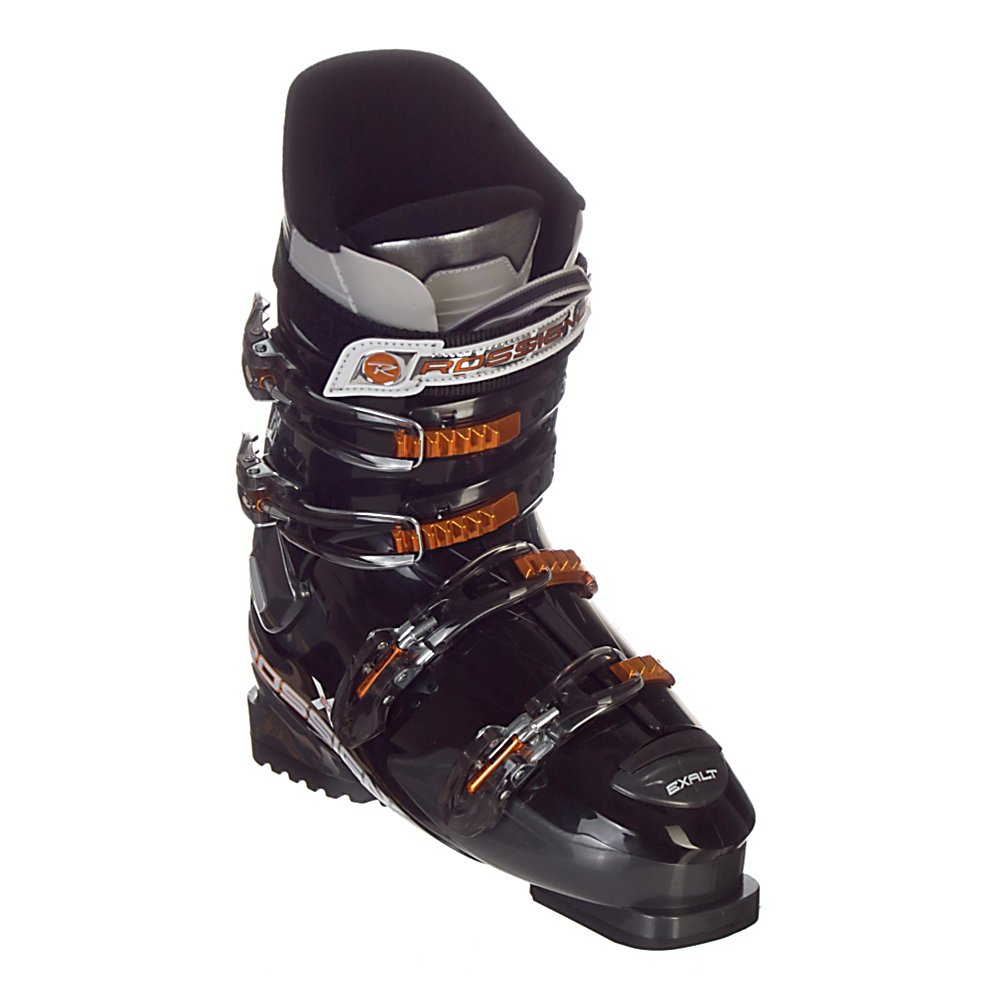 Ski Rossignol Exalt X 60 Ski Boots - The Exalt X 60 is a phenomenal boot for developing skiers, with a great fit and price. Rossignol has developed this wider shell design to accommodate skiers whose top priority is comfort. The Pro Fit Liner matches the internal shell perfectly for a great out of the box fit. The precise padding of the liner is designed to hold the heel securely which will help with control of both the boots and the skis. A one piece toe box and tongue ensures a seamless toe box which eliminates pressure points around the toes for additional warmth and comfort. This design also allows for a soft instep pocket over the top of the foot to provide comfort and increase circulation to your toes. Notches in the lower shell allow for the easiest entry and exit Rossignol has ever developed. The neutral stance of the Exalt X 60 gives beginner to intermediate skiers a stable and efficient stance to drive the ski through each turn. . Category: Downhill, Skill Range: Beginner - Intermediate, Model Year: 2011, Product ID: 167323, Shipping Restriction: This item is not available for shipment outside of the United States., Buckle Material: Aluminum/Plastic, Buckle Count: 4, Flex Adjustment: Yes, Forefoot Width: 104mm, Sidecountry: No, Freestyle: No, Number of Micro Buckles: Four, Prewired For Heat: No, Ski/Walk: No, Used: No, Race: No, Flex: Soft, Special Features: Easy Entry Concept, Features: Easy Entry Concept, Buckle Count/Type/Material: 4/Micro Adjustable, Shell Material: Polyolefin, Width: Wide (104-106 - $169.95