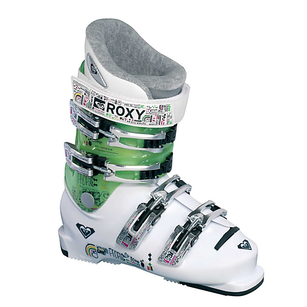 Ski Roxy Hocus Pocus Girls Ski Boots - Watch your little miss mesmerize the eyes of all onlookers as she flips, spins and flies down the mountain in the Roxy Hocus Pocus ski boots. Designed specifically for teenage girls who like to do a little of everything with a whole lot of style. Junior shell with easy-flex cuff and warm, soft liner ensures comfort and control all day long. . Lining Material: Custom Pro, Actual Flex: 60, Cuff Alignment: None, Warranty: One Year, Gender: Girls, Special Features: Powerstrap, Type of Boot: High Performance, Width: Junior, Shell Material: ET/PU Plastic, Buckle Count/Type/Material: 4/Micro Adjustable, Features: Easy flex cuff, Special Features: Easy flex cuff, Flex: Medium, Race: No, Used: No, Ski/Walk: No, Prewired For Heat: No, Number of Micro Buckles: Four, Freestyle: No, Sidecountry: No, Forefoot Width: N/A, Flex Adjustment: No, Buckle Count: 4, Buckle Material: Aluminum, Category: Downhill, Skill Range: Intermediate - Advanced, Model Year: 2009, Product ID: 144669, Shipping Restriction: This item is not available for shipment outside of the United States. - $29.97