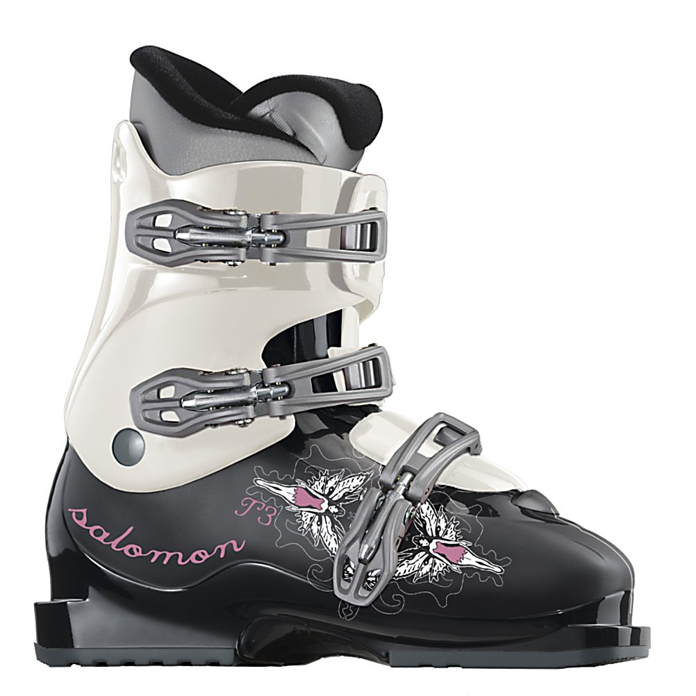 Ski Salomon Kaid T3 Girls Ski Boots - The Salomon Kaid T3 Ski Boot is a tech savvy, stylish choice for your growing shredder. The FS spaceframe gives ultimate durability and the oversized buckles provide an easy tweak in any condition. A thermicfit liner covers feet in comfort and heat while a heel cushioning system absorbs any uncomfortable impact. . Lining Material: Thermicfit, Actual Flex: 30, Cuff Alignment: None, Warranty: One Year, Gender: Girls, Type of Boot: Recreational, Ski Boot Width: Junior, Shell Material: Mono-Material PU, Buckle Count/Type/Material: 3/Plastic, Bearing Grade: Recreational, Flex: Soft, Race: No, Used: No, Ski/Walk: No, Prewired For Heat: No, Number of Micro Buckles: N/A, Freestyle: No, Sidecountry: No, Flex Adjustment: No, Buckle Count: 3, Buckle Material: Plastic, Category: Downhill, Ski Gear Intended Use: All Mountain, Skill Range: Beginner - Advanced Intermediate, Model Year: 2010, Product ID: 164414, Model Number: 104471-220 - $59.93