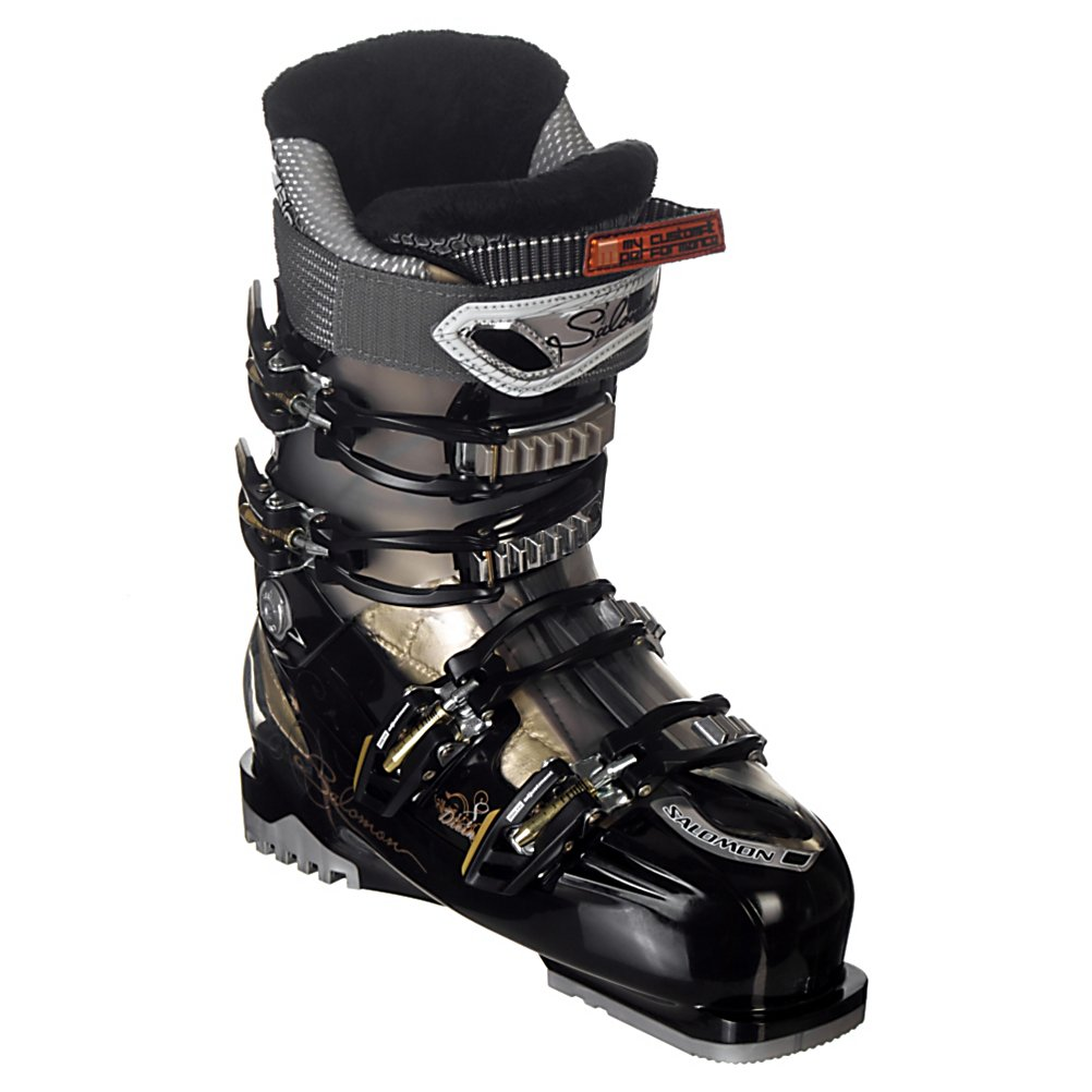Ski Salomon Divine RS 8 Womens Ski Boots - When it comes to versatility in a boot the Divine RS 8 shines. The RS 8 is certainly designed with comfort in mind, but retains many performance characteristics. Built on the Divine V Shape, the RS 8 is narrow in the heel, providing control and precision, with a wide toe box, giving total comfort. Four micro adjustable buckles, a scalloped liner back, and tool free catch adjustment on the upper cuff make the RS 8 easy to dial in for a variety of foot and leg shapes. Unlike the RS 10, the RS 8 uses a slightly softer liner to match it's softer 70 flex. By making the boot easier to drive and more forgiving, the Divine RS 8 can work with a large range of skier types. The RS 8 is a very capable boot, and is more than supportive enough for lighter weight advanced women, but with it's softer flex can also be the ideal fit for athletic intermediate skiers looking to become better skiers. . Actual Flex: 70, Warranty: One Year, Gender: Womens, Width: Medium (100-103mm), Buckle Count: 4, Buckle Material: Aluminum, Skill Range: Advanced Intermediate - Advanced, Model Year: 2011, Product ID: 201250, Buckle Count/Type/Material: 4/Micro Adjustable/Aluminum, Shell Material: Polyurethane, Type of Boot: Performance, Lining Material: My CustomFit Performance with Biovent - $399.95