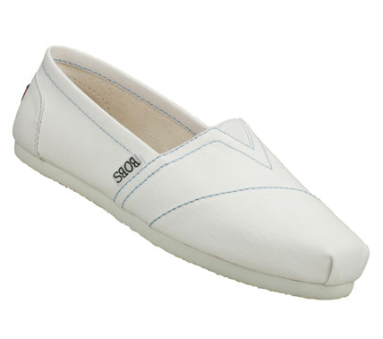 Look great and feel happy in the SKECHERS BOBS-Earth Day shoe.  Soft canvas fabric upper in a slip on casual flat shoe with stitching accents. - $35.00