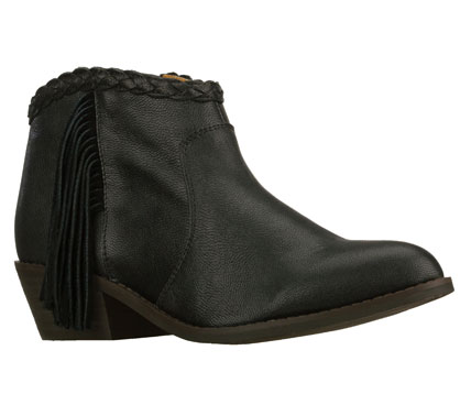 Entertainment Go a step towards the west in the SKECHERS Marshal boot.  Smooth leather upper in a low ankle height side zip western style casual dress demi boot with fringed side and braided detail. - $135.00