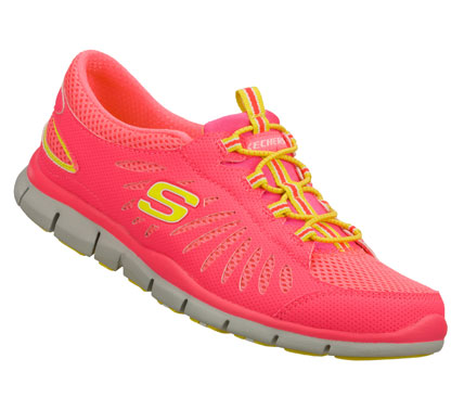 Sporty style and lightweight comfort are the innovation in the SKECHERS Gratis - Big Idea shoe.  Smooth microperforated synthetic and mesh fabric upper in a bungee laced sporty casual slip on sneaker with stitching and overlay accents. - $60.00