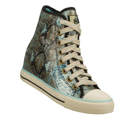 Rock the house in glittering glam with the Daddy'$ Money: Gimme - After Party shoe.  Colorful snake print fabric with all over glittering sequin finish in a lace up casual high top sneaker with hidden 2 inch wedge heel. - $60.00