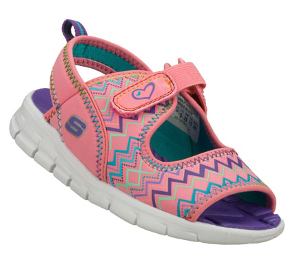 Surf Fun sporty style and comfort for hotter weather comes in the SKECHERS Synergize - Sea Stars sandal.  Soft flexible neoprene fabric upper in a sporty casual strappy comfort sandal with stitching accents and adjustable closures. - $32.00