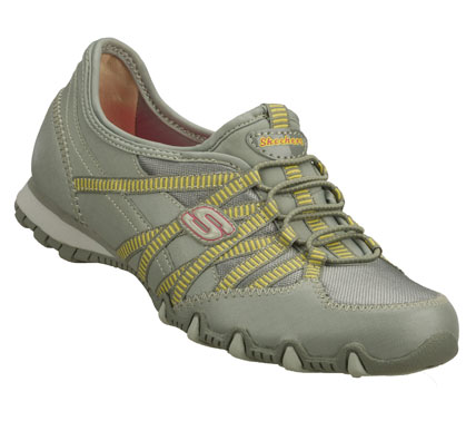 Fitness Combine cool sporty style with comfort in the SKECHERS Bikers - Mix N Match shoe.  Leather and mesh fabric upper in a slip on bungee laced casual sneaker with stitching and overlay accents. - $53.00
