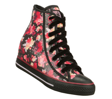 Entertainment Fun style is in full flower with the SKECHERS Daddy'$ Money: Gimme shoe.  Soft colorful floral print fabric with all over sequin finish in a lace up casual high top sneaker with 2 inch hidden wedge. - $67.00