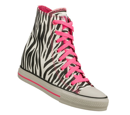 Entertainment Go on the prowl in cool style with the Daddy'$ Money: Gimme - Wicked shoe.  Animal print woven soft canvas fabric upper in a lace up classic casual high top sneaker with hidden 2 inch wedge heel. - $40.00