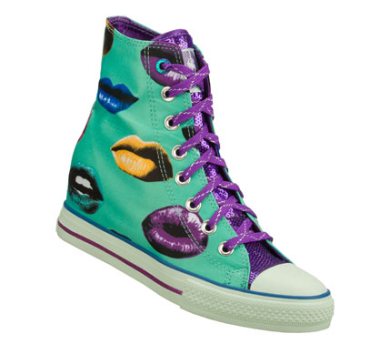 Entertainment Lay a big smooch of cool style on your look with the Daddy'$ Money: Gimme - Kisses shoe.  Satiny fabric upper with lips print in a lace up casual hidden wedge high top sneaker with stitching and overlay accents. - $40.00
