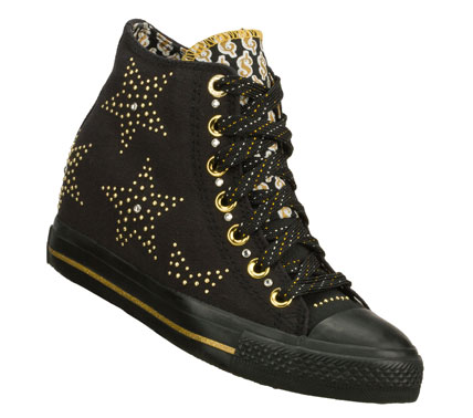 Entertainment Live the high life in detailed style with the Daddy'$ Money: Gimme - Star Studded shoe.  Soft woven canvas fabric upper in a lace up casual high top sneaker with metal stud detail and hidden 2 inch wedge. - $60.00