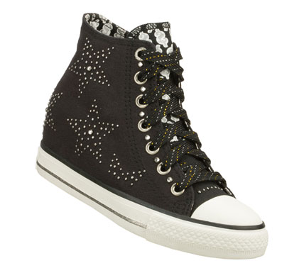Entertainment Live the high life in detailed style with the Daddy'$ Money: Gimme - Star Studded shoe.  Soft woven canvas fabric upper in a lace up casual high top sneaker with metal stud detail and hidden 2 inch wedge. - $40.00