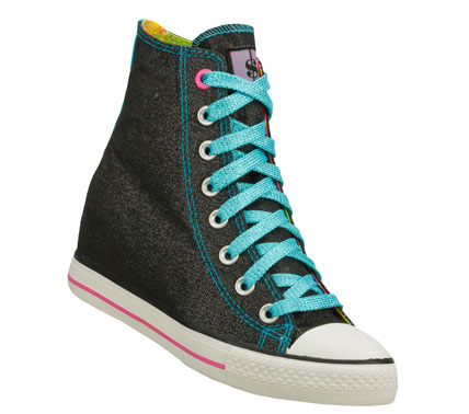 Entertainment Fun colorful style goes off with the Daddy'$ Money: Gimme - Glitter Bomb shoe.  Soft glitter finish canvas fabric upper in a lace up casual hidden wedge sneaker with stitching and overlay accents. - $60.00
