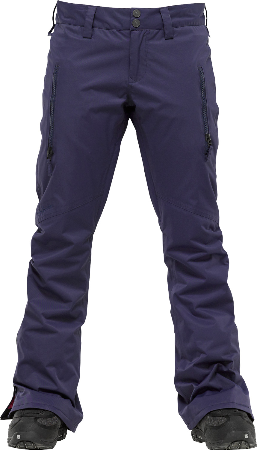 Snowboard Accentuate your assets, flattering fit keeps you committed to all your shred desires.Key Features of the Burton B By Burton Gemma Snowboard Pants: 10,000mm Waterproof 10,000g Breathability DRYRIDE Durashell 2-Layer Coated Nylon Full Dull Twill Fabric Slim Fit Satin Lining Fully Taped Seams Jacket-to-Pant Interface Thigh Pockets Thigh Vents Fully Taped Seams NEW Expandable Boot Gaiter Integrated Waist Adjustment Reinforced Hems Universal Pant Features:DRYRIDE Fabrication with DWR Coating Microfleece-Lined Handwarmer Pockets Articulated Knees Engineered Lining Bomber YKK Zippers Jacket-to-Pant Interface Taped Seams Boot Gaiter with Gripper Elastic Cuffs Pass Pocket/Ticket O-Ring Butt Pockets Belt Loops Microfleece-Lined Fly and Waistband Ghetto Slits - $111.95