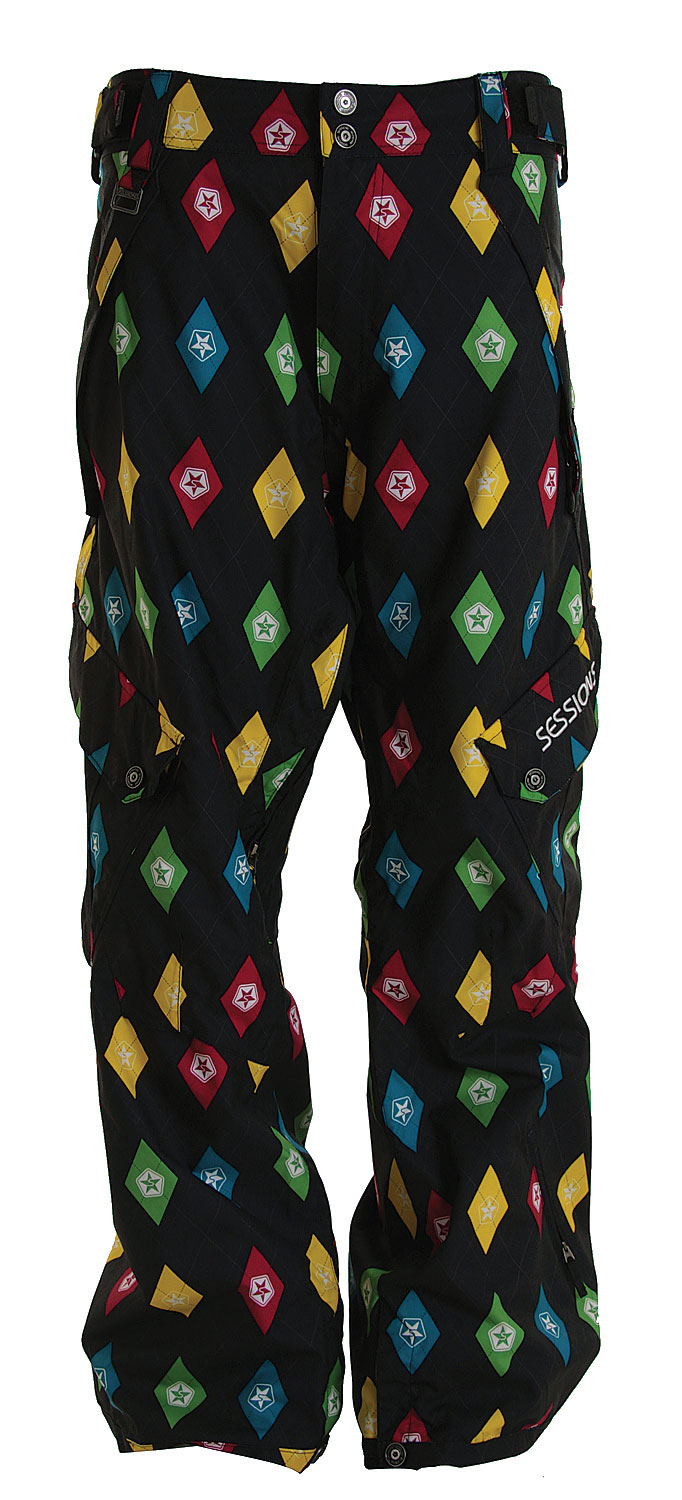 Snowboard Get funky and add some spice to your look with the Sessions Gridlock Snowboard Pants. Made with 100% nylon, these basic cargo pants features a loose fit, fleece in seat and knees for added comfort. Featuring a vibrant colorful pattern throughout, be sure to turn heads from all directions. So ideal for wearing all day long, these pants are a must-have. Guaranteed comfort and warmth, what more can you ask for?Key Features of the Sessions Gridlock Snowboard Pants: 10,000mm Waterproof 10,000g Breathability Basic cargo Fleece in seat and knees Suspension boot gaiter RECCO 2 layer twill 100% nylon Loose fit - $84.95