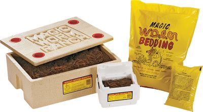 "Fishing Whether you harvest your own worms or buy them in bulk, the Ranch has everything you need to store and transport large quantities of fresh, lively worms. Kit includes a 14"" x 20"" x 7"" master bedding container, 4-1/2 lbs. of the famous Magic Worm Bedding mix, a 12-ounce bag of worm food and instructions, plus Magic's Twin-top bait box. Bait box has built-in carry handles and includes its own bag of bedding. Lids at top and bottom allow easy access to worms that have burrowed to the bottom. Crawlers not included. - $22.88"