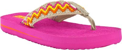 Surf The Teva Kids Mush II Thongs ultrasoft Mush footbeds offer comfort and support for warm-weather fun. Sturdy thong uppers. Nonslip EVA outsoles with Mush traction pattern. Imported. Kids whole sizes:10-13, 1-6 medium width. Colors: Fuchsia Stripe, Blue. Size: 1. Color: Blue. Gender: Female. Age Group: Kids. Pattern: Stripe. - $9.88