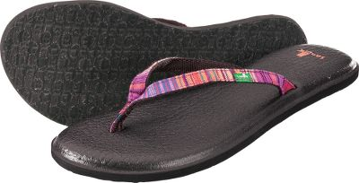 Fitness Cushy and comfortable Sanuk Yoga Spree Funk Flip-Flops sport real yoga-mat footbeds. Woven poncho straps with webbing liners. Happy U rubber sponge outsoles. Imported.Womens whole sizes:6-10 medium width.Color: Fuchsia. - $32.00