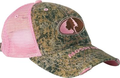 Hunting Top off your look with a touch of camo style. This polyester/cotton cap features pink mesh back and sides. Front and bill are Mossy Oak Brush. Embroidered Mossy Oak patch on front. Embroidered Mossy Oak on bill. Hook-and-loop closure. One size fits most. Imported. Color/Camo pattern: Pink/Mossy Oak Brush . - $19.99
