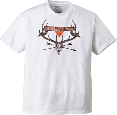 This short-sleeve shirt features a screen print of arrows and a great-looking set of antlers. Its made of soft 100% cotton and features a UPF rating of 15. Imported.Sizes: M-2XL.Color: White. - $9.88