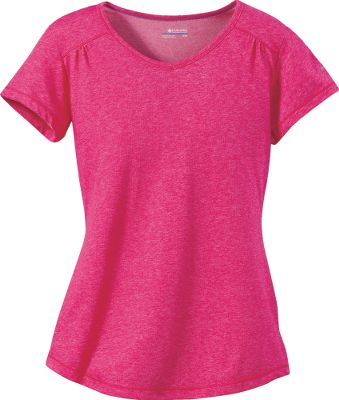 Fitness Sporty and femininely cut, this Columbia WomensThistle Ridge Short-Sleeve Tee Shirt is made with Omni-Wick technology that quickly disperses moisture across a broad surface area for accelerated evaporation, so you feel dry and comfortable faster than ever before. Moderate V-neck with simple pleats on the chest. 67/33 polyester/cotton. Imported. Center back length: 26. Sizes: S-XL. Colors: Siberia Heather, Red Hibiscus Heatner, Geyser Heather, Razzle Heather, Bright Rose Heather, Fresh Kiwi Heather, Glaze Green Heather, Intense Violet Heather, Zing Heather. Size: Large. Color: Red Hibiscus Heather. Gender: Female. Age Group: Adult. Material: Polyester. Type: Short-Sleeve Tee Shirts. - $14.88