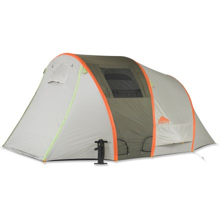 Camp and Hike Comfort and versatility is the name of the game with the 4-person, 3-season Kelty Mach 4 tent. Highlights include inflatable air poles, an integrated rainfly, a large vestibule and a sleep room. - $299.93