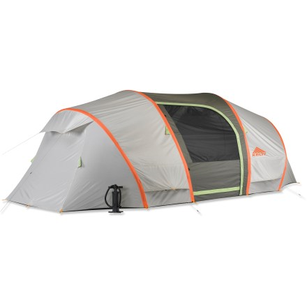 Camp and Hike Comfort and versatility is the name of the game with the 6-person, 3-season Kelty Mach 6 tent. Highlights include Inflatable air poles, an integrated rainfly, a large vestibule and 2 sleep rooms. - $374.93