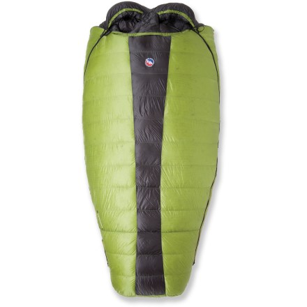 Camp and Hike Snuggle up with your sweetheart on a cold night in the mountains with the Big Agnes Saddle Mountain SL double sleeping bag. DownTek(TM) 700-fill-power duck down repels water employing nano technology and a proprietary process to apply a micro-thin polymer to the down. DownTek down repels water and maintains loft and insulation value, even when exposed to moisture. Proprietary application process creates a water repellent, antimicrobial and antibacterial down insulation that actually floats on water. Pertex(R) nylon shell; nylon taffeta lining is soft and breathable. Underside insulation has been replaced with half-length sleeves for two 20-in. wide sleeping pads (sold separately); sleeves prevent the bag from slipping off the pads. Draft wedge insulates the connection between the bag and pad to prevent cold air from entering. Draft collar for each person keeps cold air from sneaking in around the neck; no-draft flap running down the inside center of the bag keeps heat compartmentalized. Zippers on each side allow easy access for both sleepers; draft tubes back zippers to prevent warm air from escaping and cold air from entering. Built-in pillow sleeves allow you to stuff jackets or backcountry pillows inside. Interior fabric loops stabilize a sleeping bag liner, sold separately. The Big Agnes Saddle Mountain SL double sleeping bag includes a nylon stuff sack and a storage bag. - $569.95