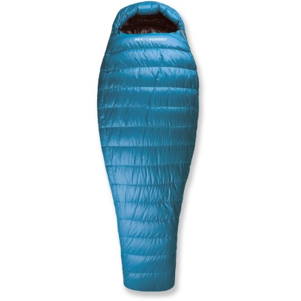 Camp and Hike Backpacking across Europe this summer? Road tripping down the coast? The 3-season Sea to Summit Talus TsI down sleeping bag keeps you warm in a broad range of environments and a variety of adventures. High loft, premium 750-fill-power European duck down offers superb warmth with minimal weight; Ultra-Dry Down(TM) water-repellent treatment protects down from moisture. Ultra-Dry Down is a water-repellent polymer treatment applied to the 750-fill down; Ultra-Dry Down retains 60% more loft and absorbs 30% less moisture than untreated down. With a European Norm (EN) lower-limit rating of 23degF, the TsI bag will help keep you warm on 3-season backpacking adventures. Shell fabric is constructed of 2D NanoShell(TM) technology, a ripstop nylon fabric treated with a Durable Water Repellent and a non-woven silicone encapsulated fabric. Innovative shell technology manages condensation, moving moisture vapor through down and siliconized barried outward; shell repels water and protects the loft of the bag. Lining is a breathable, durable 20-denier polyester fabric with a soft touch. Relaxed mummy shape is cut with a large hood, broad shoulders and large chest for a more comfortable sleeping bag while maintaining thermal efficiency. Upper side of bag features a differential cut (inner layer is cut smaller than the outer layer to create consistent thickness of insulation) to help prevent cold spots. Reverse differential cut on lower side; inner layer is cut larger than the outer layer to allow down to loft up, filling spaces around body so warmth wraps around you. Oversize draft tube backing the zipper keeps the warmth in and the cold out; zipper is backed by stiff, antisnag tape for smooth operation. Full length side zipper allows bag to be joined to other Sea to Summit sleeping bags. - $399.00
