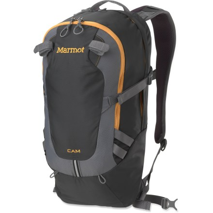 Camp and Hike With the Marmot Cam daypack, ultralight doesn't have to equal short-lived. Quality materials, reinforced with durable fabric, will brave years of tough scrapes in the backcountry or around campus. Panel-loading main compartment features a hydration port and hanger clip (reservoir sold separately). Padded sleeve is sized to hold most 13 in. laptops; internal pocket fits a tablet or e-reader. Easily accessible front pocket contains an internal organizer and key clip. Air-mesh shoulder straps and back panel help ensure well-ventilated comfort; removable webbing hipbelt adds load stability when needed. The exterior of the Marmot Cam daypack features reflective highlights along with clipping points and tool/trekking pole attachments. - $70.93