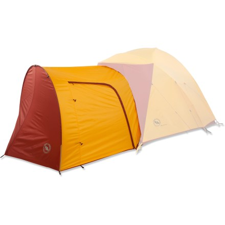 Camp and Hike The optional Big Agnes Big House 6 accessory vestibule adds 44 sq. ft. to the Big Agnes Big House 6 tent. Creates a large storage area for camp chairs, bikes or packs. Made from ripstop polyester with a waterproof polyurethane coating. Dimensions: (L x W) 97 x 96 in., tapering to 77 in. Height: 64 in., decreasing to 55 in. Packed size: 7 x 17 in. - $79.93