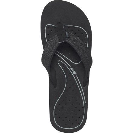 Surf The Reef Drainer flip-flops are a summer essential if you enjoy exploring urban landscapes and hanging at the beach. Soft, comfortable EVA straps conform to feet for a secure fit; EVA linings are soft against feet. Contoured EVA topsoles conform to shape of feet; multi-density EVA midsoles cushion each step. Engineered draining system throughout the midsoles let water escape quickly. Grippy molded rubber outsoles provide traction on wet and dry surfaces. All-synthetic construction makes these vegan-friendly. - $18.83