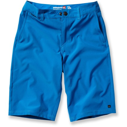 Surf The Quiksilver F.A.A. Amphibian board shorts keep boys looking cool and feeling great when they're riding waves at the beach or swimming in the neighborhood pool. Lightweight polyester with a touch of spandex dries fast and stretches to fit perfectly every time. The Quiksilver F.A.A. Amphibian board shorts feature belt loops and a snap-closure waist. - $39.50