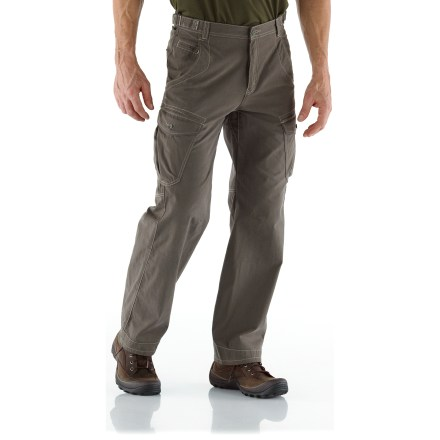 The 32 in. inseam REI Cliff Cave Cargo pants have pockets for everything you'll need to enjoy a day of urban exploring. Cotton/nylon midweight blend fabric stands up to regular wear yet has a soft hand for great comfort; fabric dries in under 4 hrs. With a UPF 50+ rating, fabric provides excellent protection against harmful ultraviolet rays. Button-close cargo pockets provide ample space for your urban essentials; hand pockets and rear pockets provide additional storage. Front hand pockets have a coin pocket and are designed to keep items from sliding out when you sit down. Waist adjustments at the sides let you fine-tune the fit. Gusseted crotch allows unrestricted range of motion. REI Cliff Cave Cargo pants have a relaxed fit that allows for comfort and freedom of movement. - $49.93