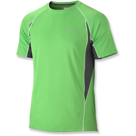 Fitness Run your favorite city or mountain trails in the easy comfort of the Marmot Cypher T-shirt. Quick-drying, moisture-wicking polyester fabric helps protect skin from harsh UV light with a UPF rating of 50+. Fabric features Cocona(TM), a blend of moisture-, odor- and UV-management using natural ingredients instead of chemicals. Flatlock seams and raglan sleeves reduce chafing, and tag-free neckline won't irritate skin. Reflective logos enhance visibility in dim light. The Marmot Cypher T-shirt is semifitted. - $30.93