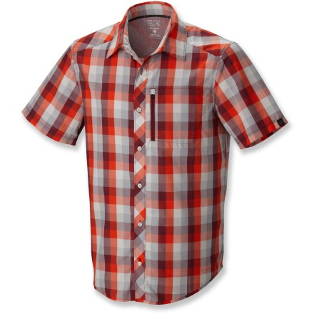Camp and Hike The Mountain Hardwear Mac Loud shirt will get you noticed with its bold plaid and bright colors on in-town adventures and quick mountain getaways. Fabric resists wrinkles, dries fast and stands up to regular wear while traveling. Zippered chest pocket holds a few small essentials. Mountain Hardwear Mac Loud shirt has a standard fit. - $31.83