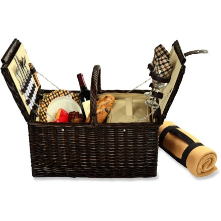 Camp and Hike The classic Picnic at Ascot Surrey picnic basket with blanket hearkens back to the summer days of yesteryear with handcrafted, richly finished reed willow construction and a timeless design. Comes with coordinating melamine plates, cotton napkins, wine glasses, stainless-steel flatware and a corkscrew. Soft, 60 x 50 in. acrylic blanket packs up easily. The Picnic at Ascot Surrey picnic basket for 2 features durable canvas lining and comes with a handy food cooler that nestles inside. - $92.93