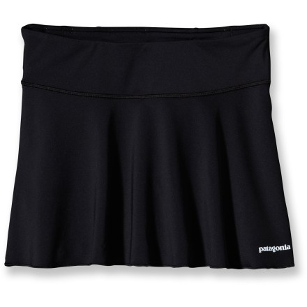 Fitness With built-in liner shorts, the Patagonia All Weather skirt makes it easy to stick to your workout routine and feel confident doing it. Polyester and spandex creates a stretchy outer fabric that breathes and moves well. Built-in liner shorts breathe and won't chafe while you're running. Back pocket stashes a key, and 2 drop-in front pockets are designed to work with energy gels (not included). The Patagonia All Weather skirt features reflective logos to increase your visibility in dim light. 12.5 in. outer skirt length. - $33.93