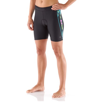 Fitness The Danskin Print Block Tri Shorts offer the compression, warmth and quick-drying fabric to take you seamlessly from swim to bike to run. Nylon and spandex fabric resists breakdown from chlorine and pool chemicals. Soft microfleece chamois insert adds comfort during your ride and is treated to resist odors; silicone grippers at leg openings prevent ride-up. Danskin Print Block Tri Shorts feature mesh inserts that allow water to escape after the swim and air to circulate during the bike and run. Inside reach pocket stores an energy gel or two. - $17.83
