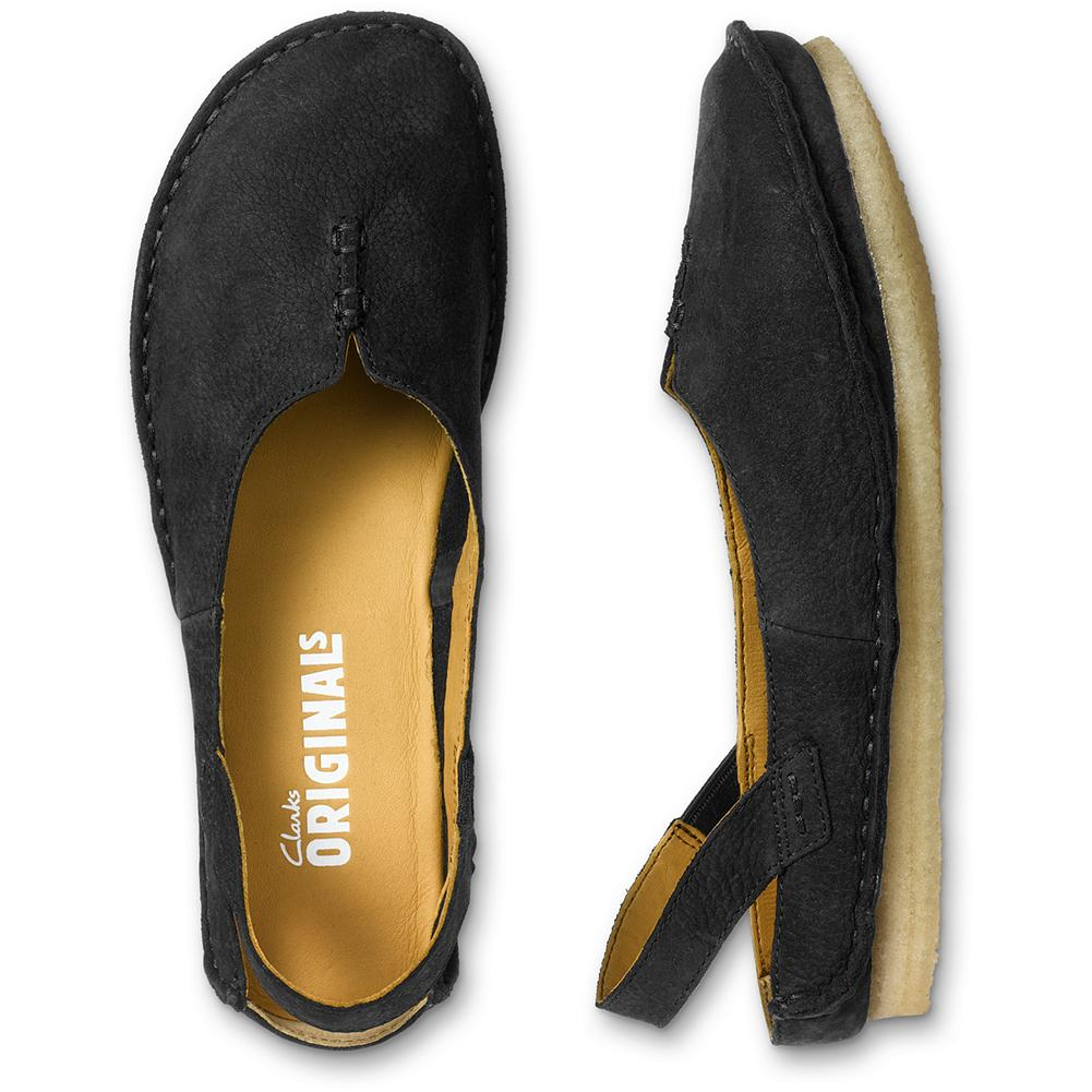 Entertainment Clarks Faraway Meadow Flats - Slip-on, sling-back comfort from Clarks. A slight cutout in the front and stitch detailing make these shoes versatile enough for jeans or casual skirts. With a rich nubuck suede upper and natural crepe rubber sole. Imported. - $49.99