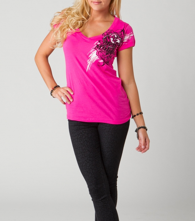 Motorsports Metal Mulisha Maidens Tee.  100% Cotton jersey V-neck Tee with Screenprint. - $15.99