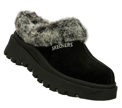 Snuggle in style with the SKECHERS Shindigs-Fortress clog. Soft suede upper in a low backed casual clog with seam detail; soft faux-fur collar and lining. - $50.00