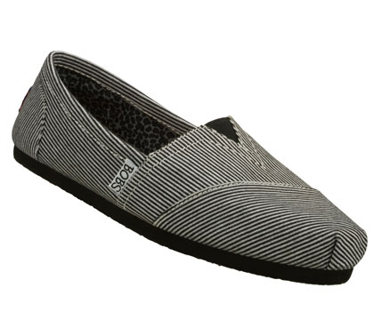 Classic style; comfort and good feelings mix in the SKECHERS Bobs - Aid shoe.  Soft jersey knit fabric upper in a pinstripe print slip on casual alpargata flat with stitching and overlay accents. - $38.00