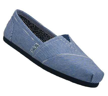 Classic style; comfort and good feelings mix in the SKECHERS Bobs - Aid shoe.  Soft jersey knit fabric upper in a pinstripe print slip on casual alpargata flat with stitching and overlay accents. - $37.00
