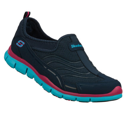 Noteworthy sporty style and comfort come in the SKECHERS Gratis - Legendary shoe.  Smooth faux leather and mesh fabric upper in a slip on sporty casual sneaker with stitching and overlay accents. - $60.00